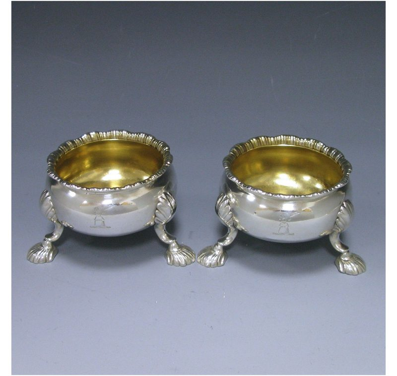 Pair of George II Antique Silver Salts made in 1753