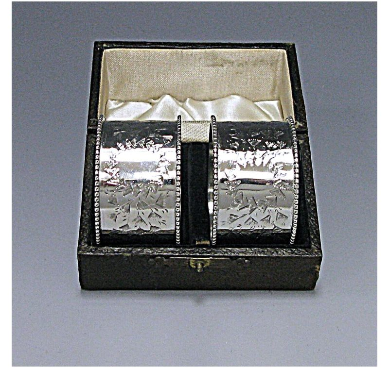 Pair of Victorian Silver Cased Napkin Rings made in 1898