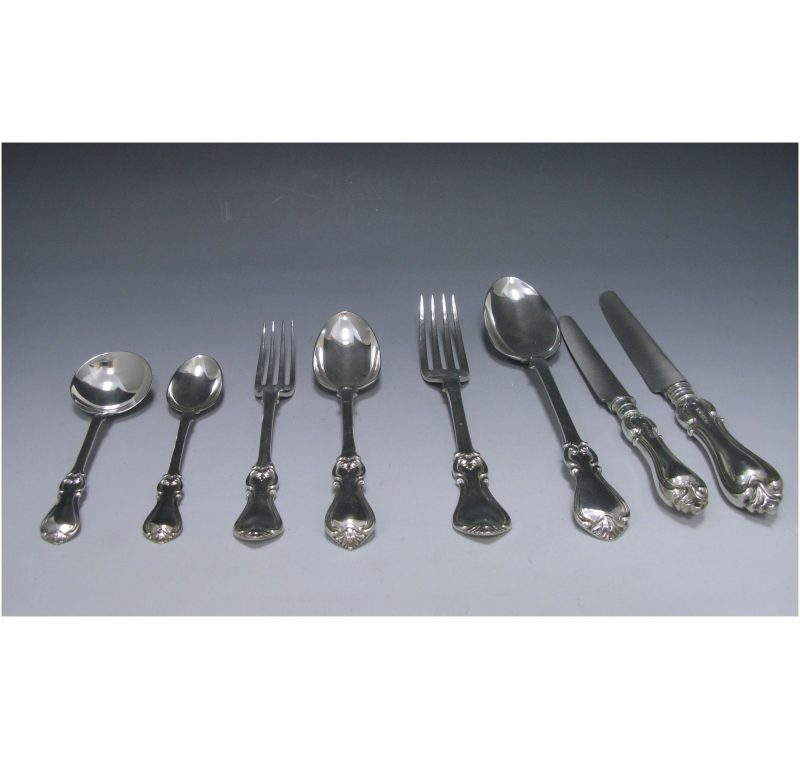 Antique Silver Early Victorian Albert Pattern Flatware Service made in 1844-57