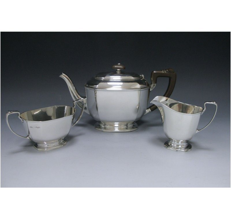 Sterling Silver Three-Piece Tea Set made in 1938-39