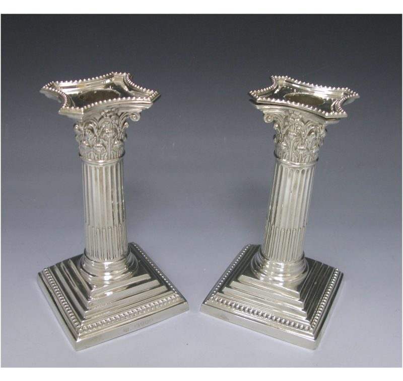 Pair of Victorian Antique Silver Candlesticks made in 1889