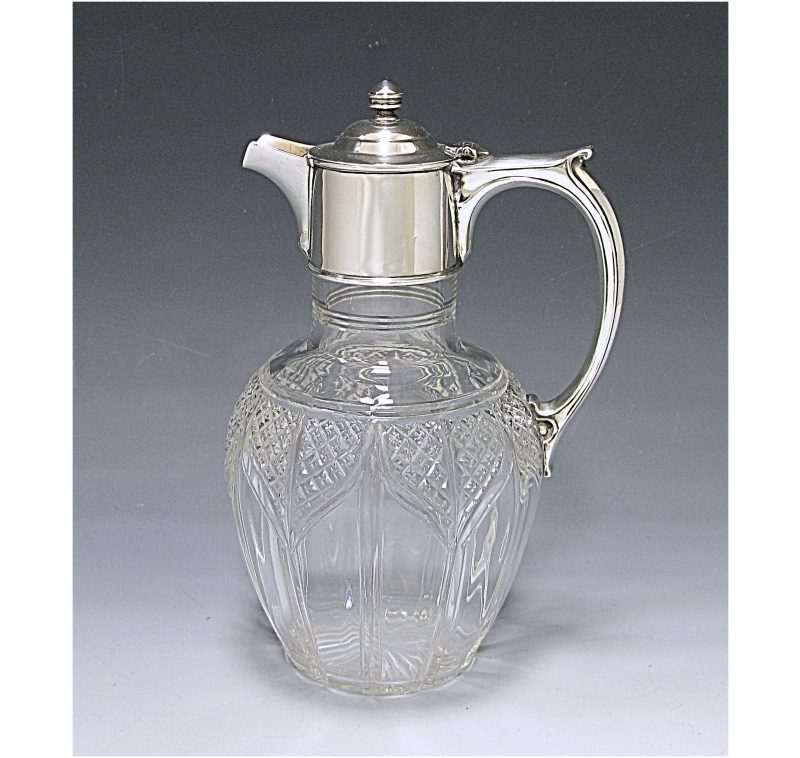 Antique Silver Edwardian Mounted Claret Jug made in 1908
