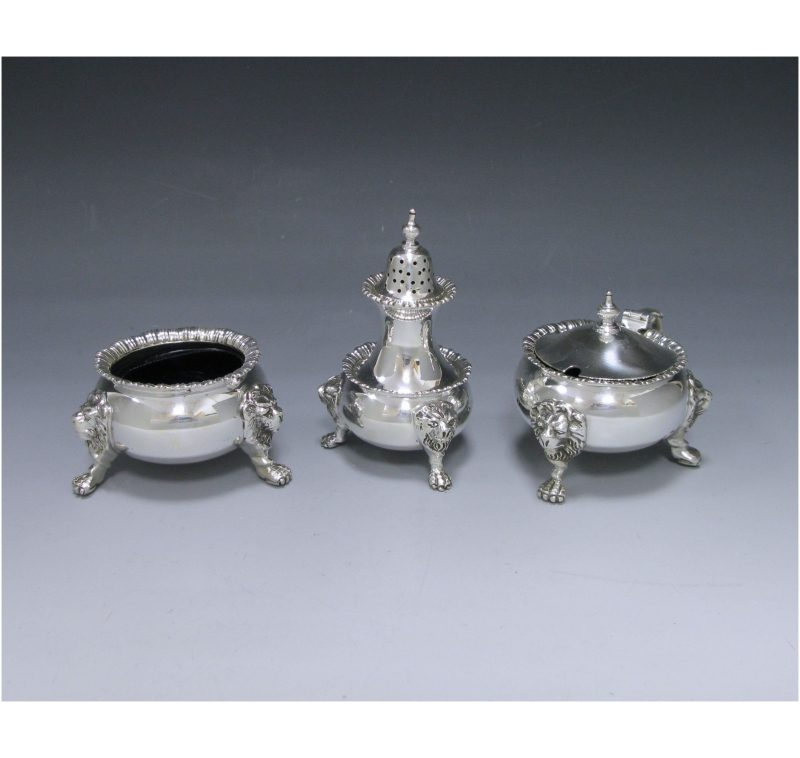 Sterling Silver Three-Piece Condiment Set made in 1962