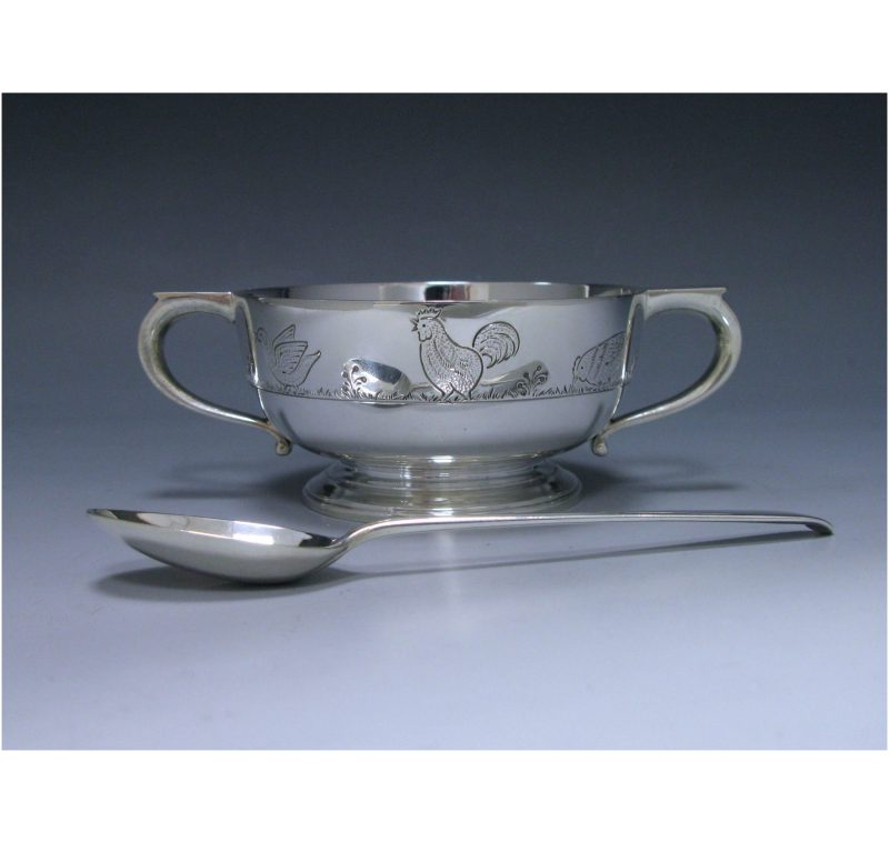 Sterling Silver Christening Bowl & Spoon made in 1935
