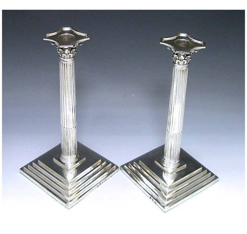 Pair of George III Antique Silver Candlesticks made in 1763