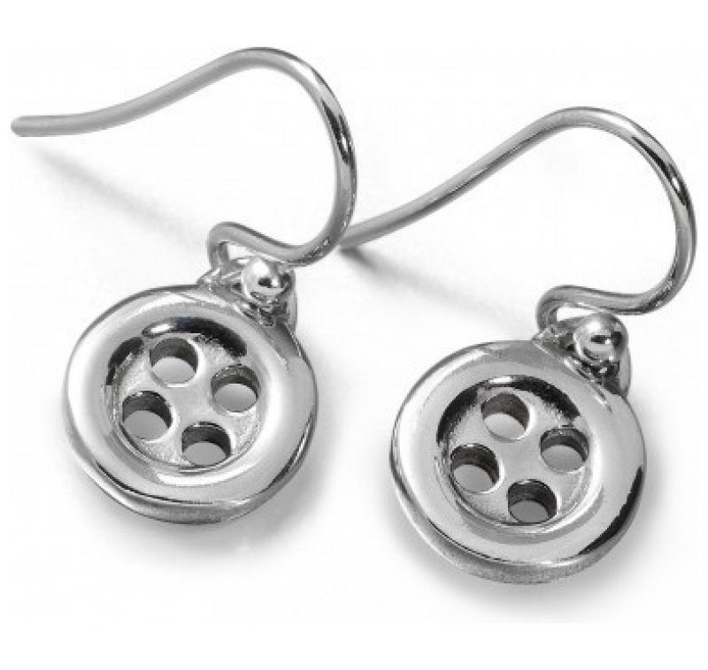 Sterling Silver Button Small Drop Earrings