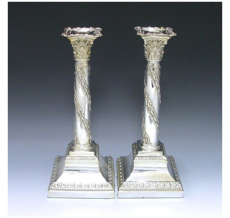 Pair of Victorian Silver Plate Candlesticks made in c.1885