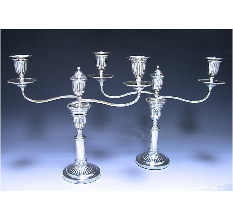 Pair of Old Sheffield Plate Telescopic Candelabra made in c.1795