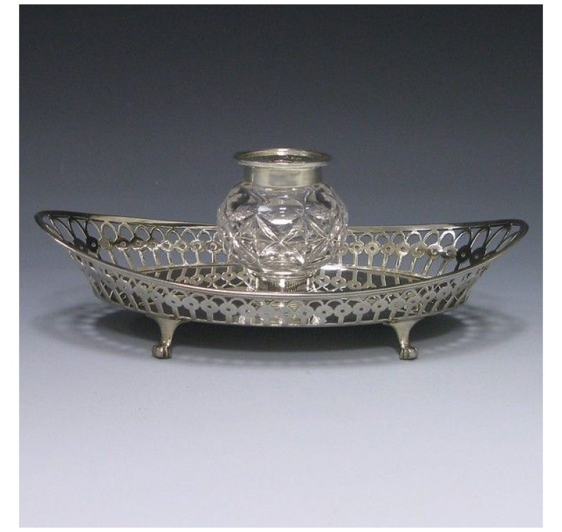 Antique Silver Victorian Inkstand made in 1898