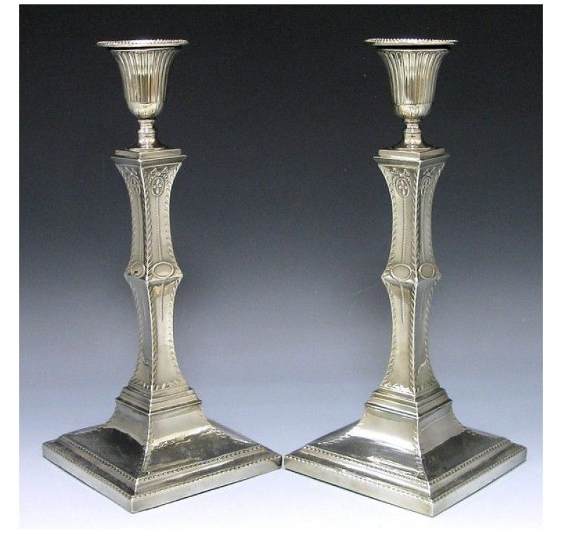Pair of Old Sheffield Plate Candlesticks made in 1780