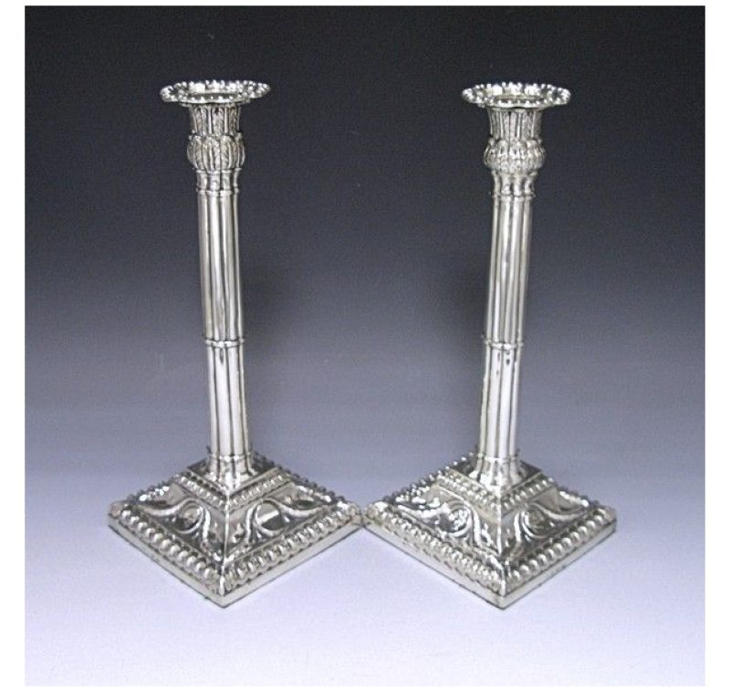 Pair of George III Antique Silver Candlesticks made in 1771
