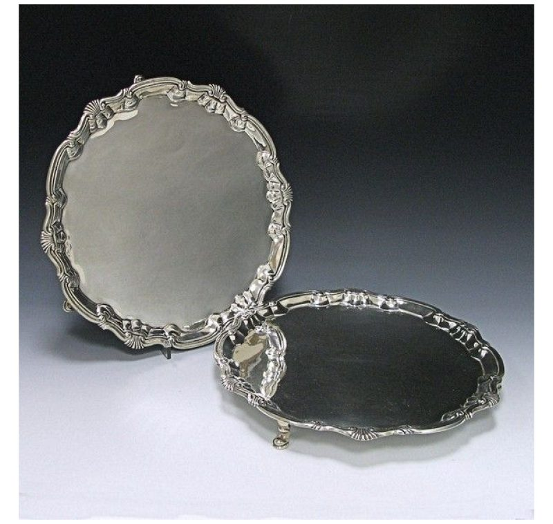 Pair of George III Antique Silver Salvers made in 1749