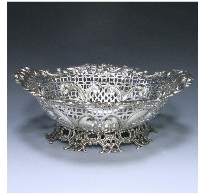 Antique Silver Victorian Basket made in 1894