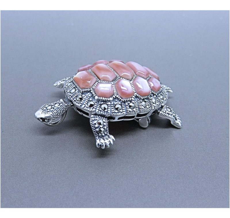 Marcasite & Pink Mother of Pearl Brooch made in 2018