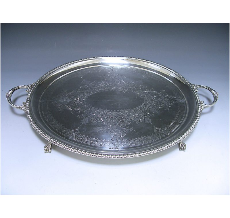 Antique Silver Victorian Two-Handled Tray made in 1882
