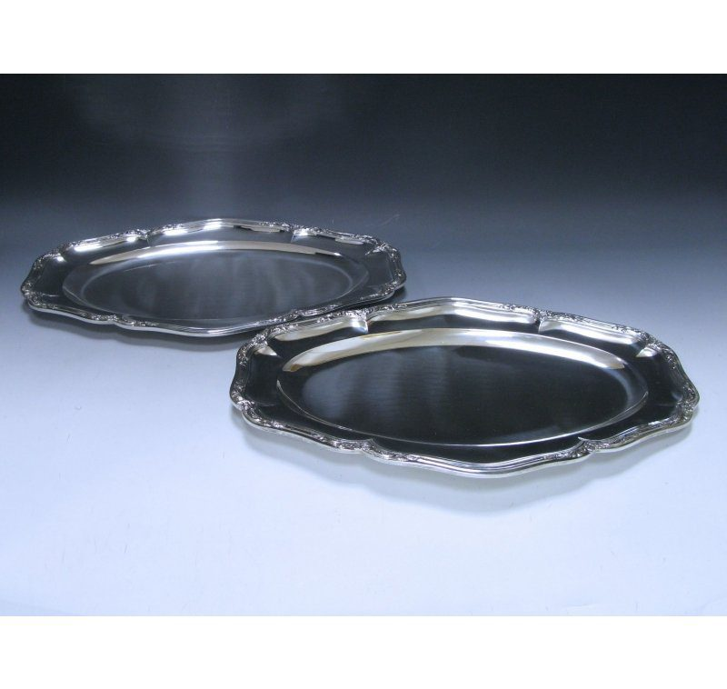 A pair of Antique Silver French Meat Dishes
