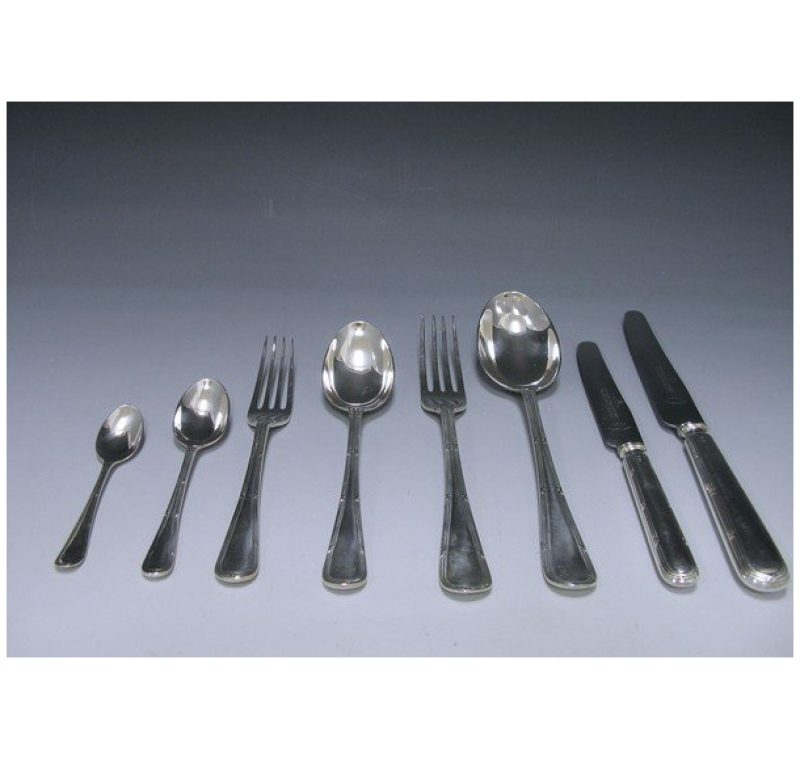 Antique Silver Reed & Ribbon Pattern Flatware Service made in 1908-24