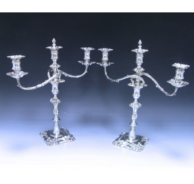 A Pair of George IV Antique Silver three light Candelabra