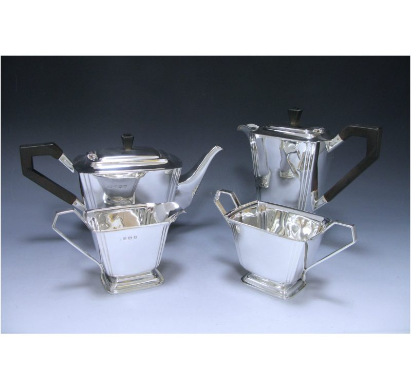 Silver Art Deco Four-Piece Tea Set made in 1938