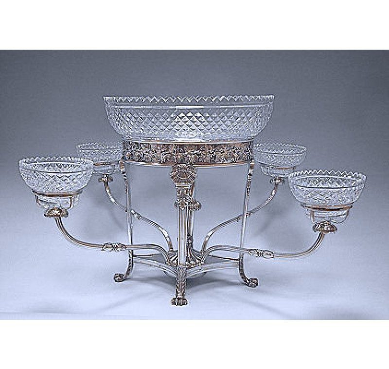 Old Sheffield Silver Plate & Glass Centrepiece made in c.1810