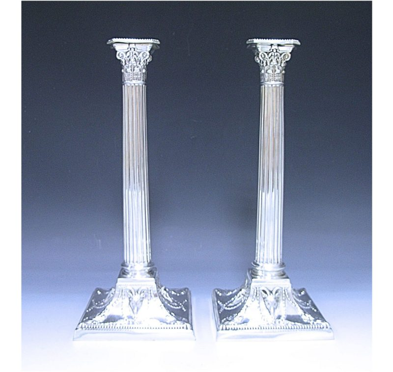A Pair of Victorian Antique Silver Candlesticks