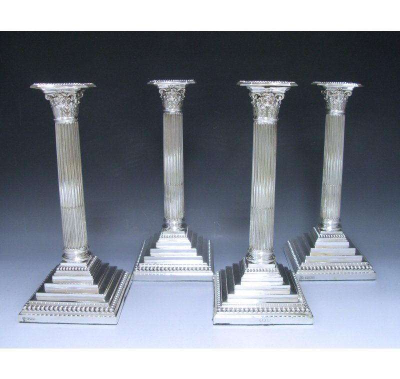 Set of Four George V Sterling Silver Candlesticks made in 1913-16