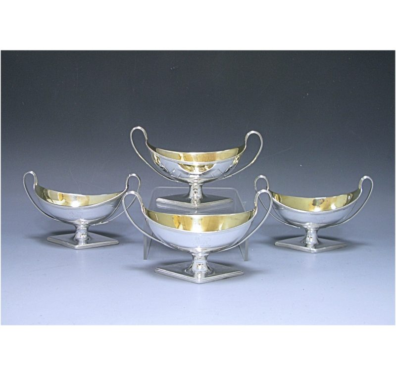 Set of Four George III Antique Silver Salts made in 1788