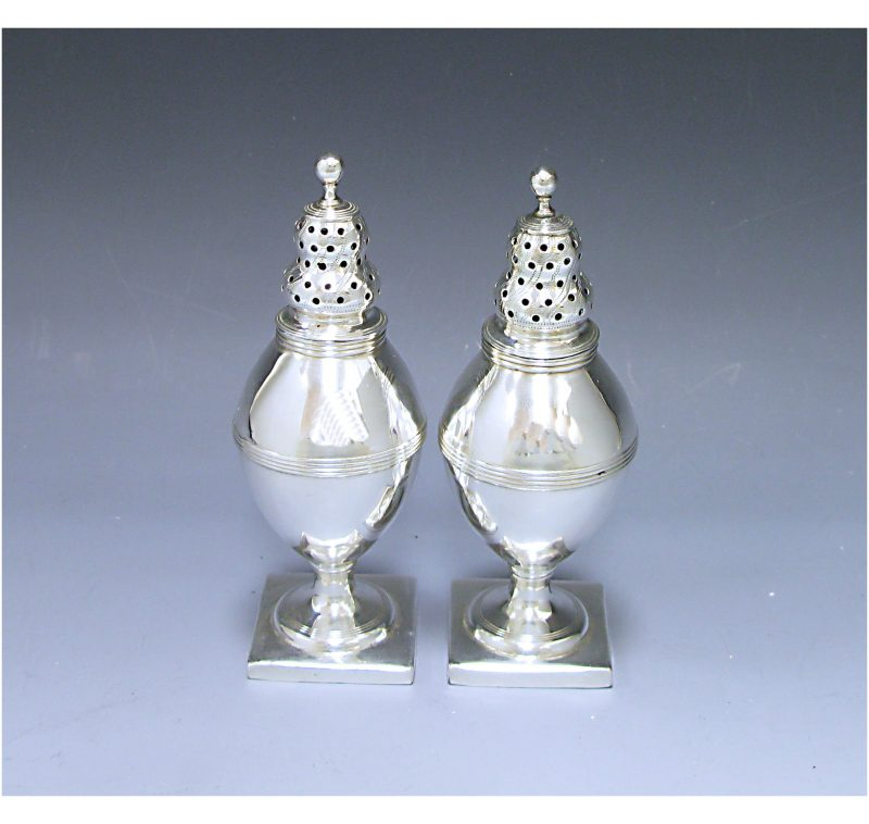 Pair of George III Antique Silver Peppers made in 1789