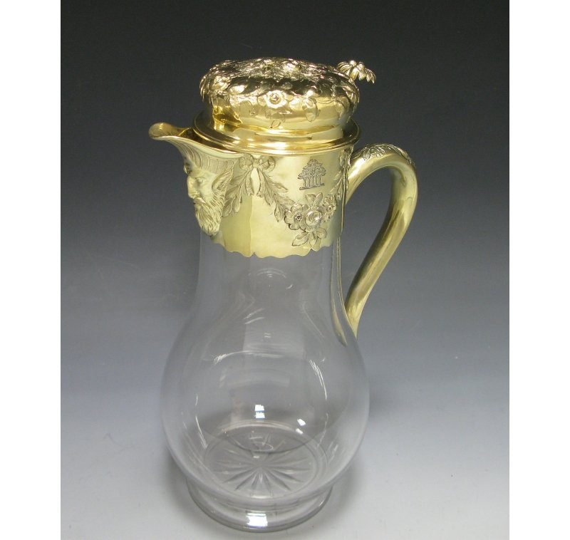 Antique Silver-Gilt Victorian Mounted Claret Jug made in 1852