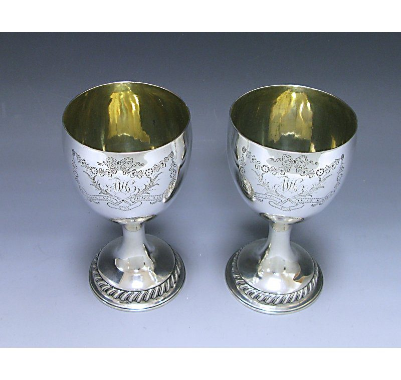 Pair of George III Antique Silver Goblets made in 1776