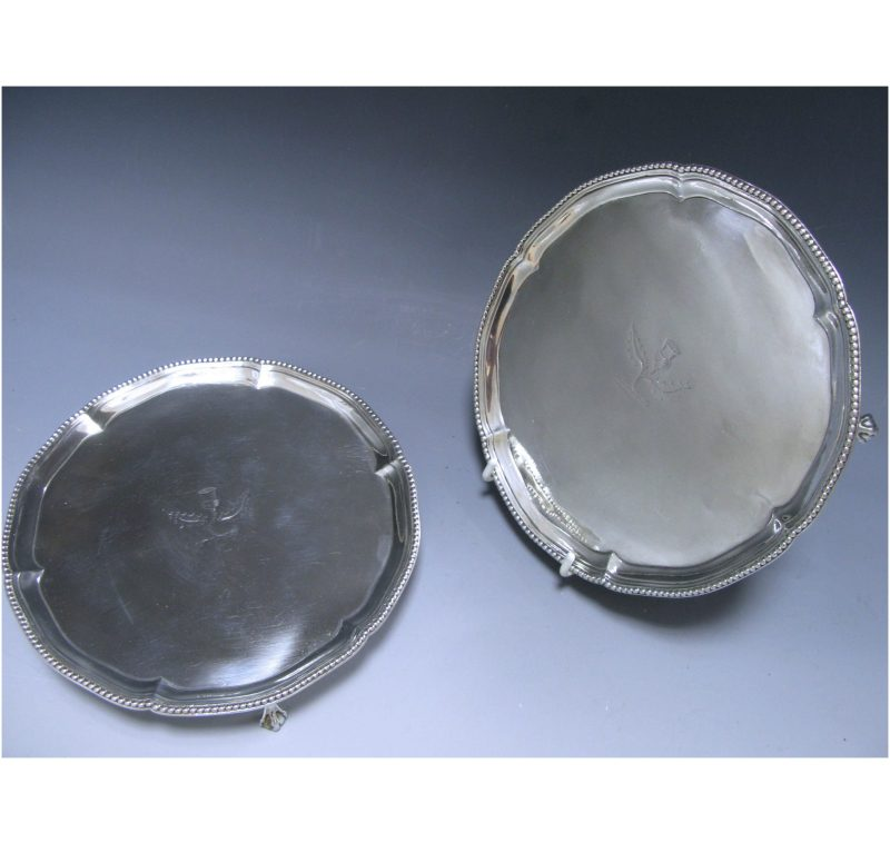 Pair of George III Antique Silver Salvers made in 1778-79