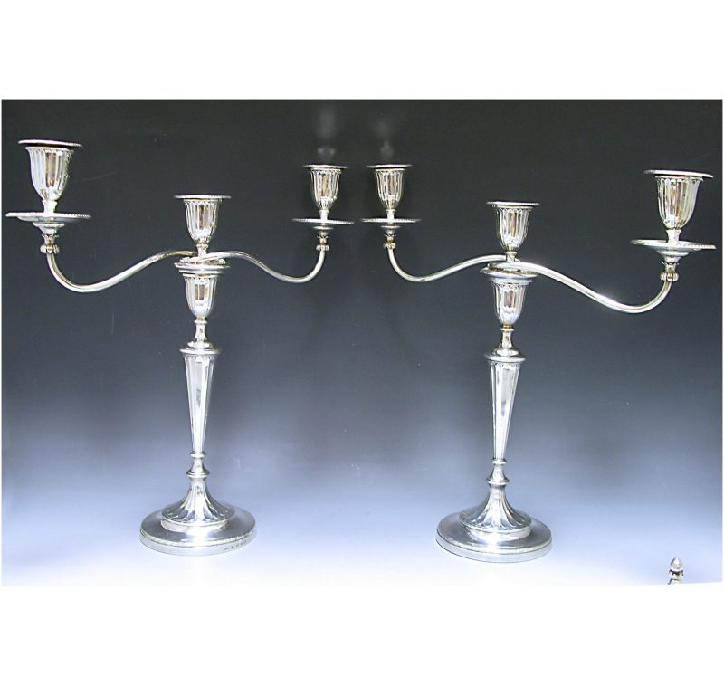 A Pair of George III Sterling Silver three light Candelabra