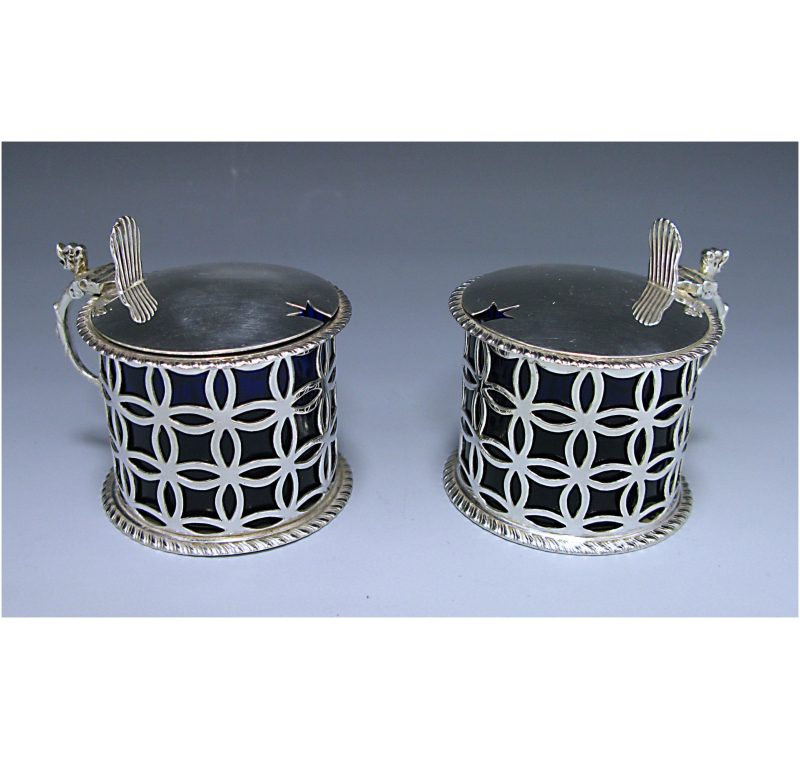 Pair of Edwardian Antique Sterling Silver Mustards