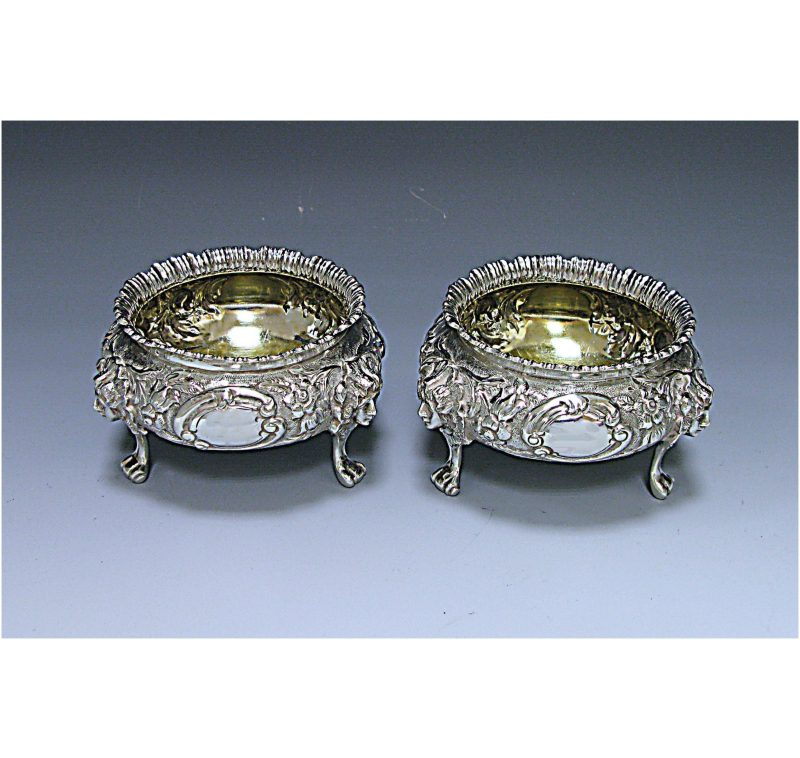 Pair of Victorian Antique Silver Salts made in 1879