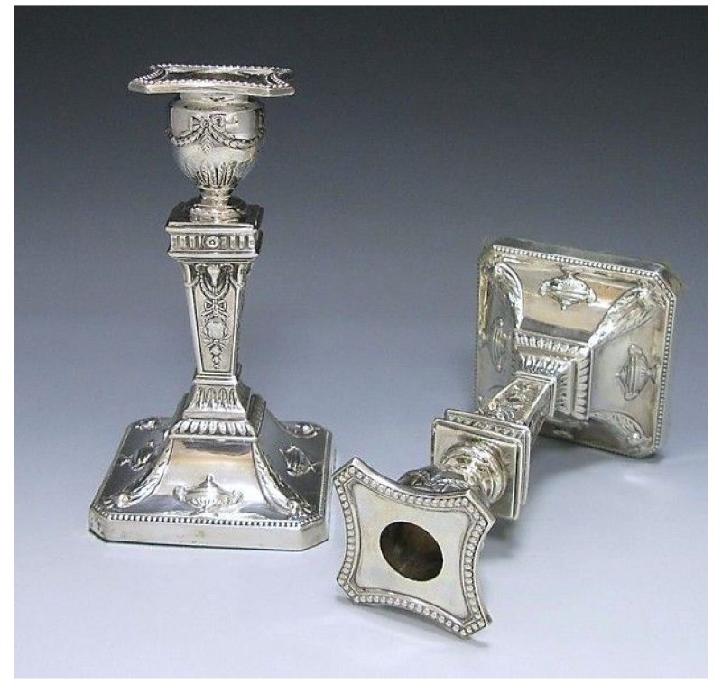 Pair of Victorian Antique Silver Candlesticks made in 1888