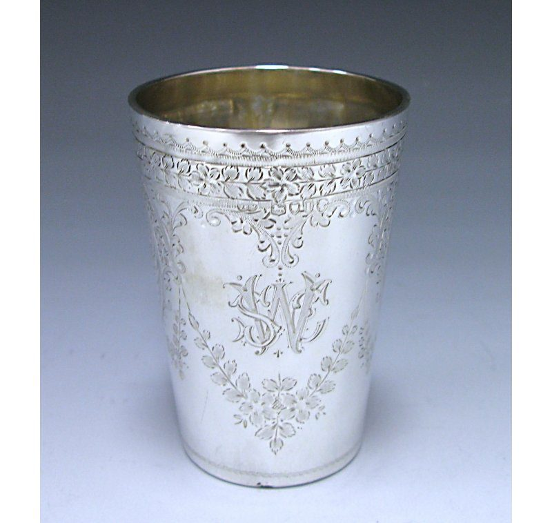 Antique Silver Victorian Beaker made in 1884
