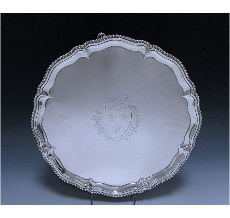 Antique Sterling Silver George III Salver 1767 by Ebenezer Coker of London