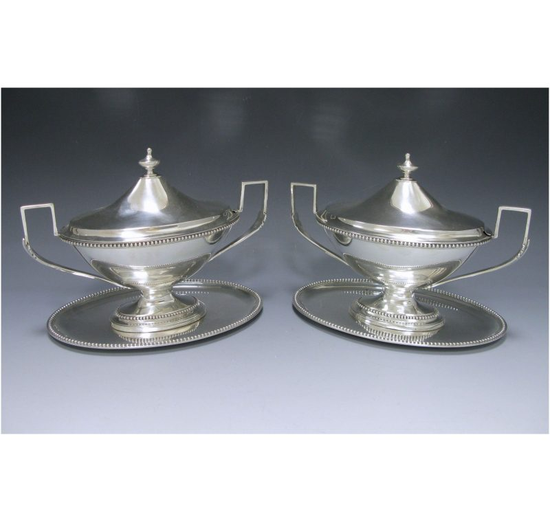 Pair of George III Sauce Tureens on stands