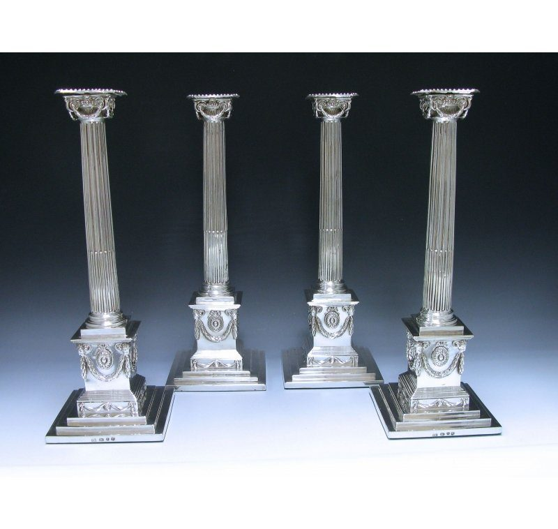 Set of Four George III Antique Silver Candlesticks made in 1772