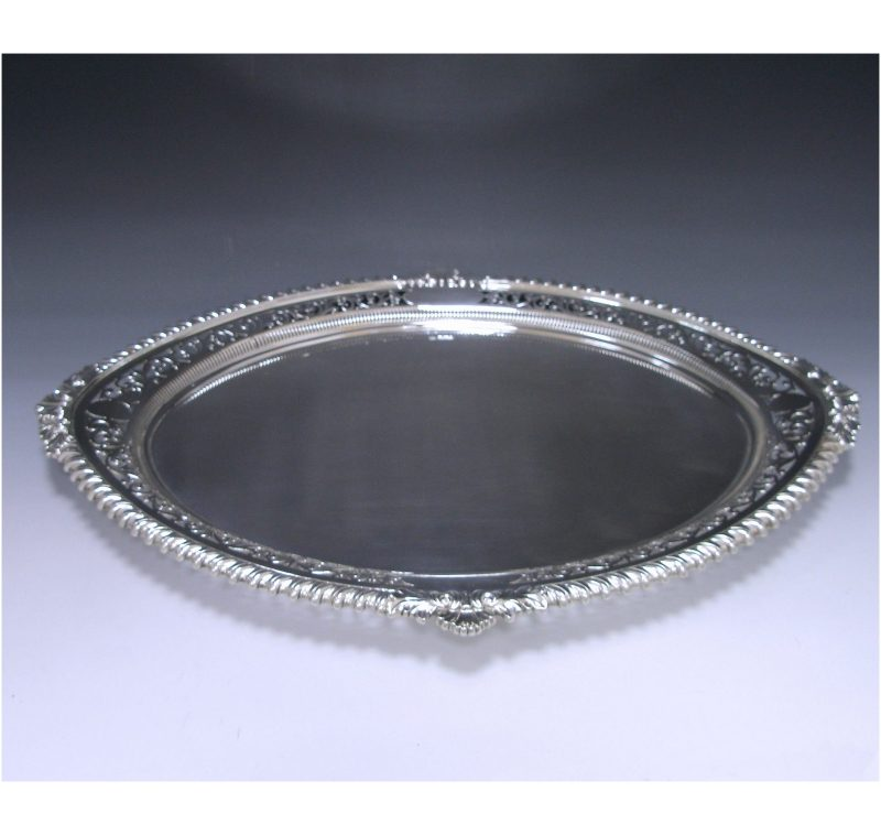 Antique Silver Victorian Oval Tray made in 1901