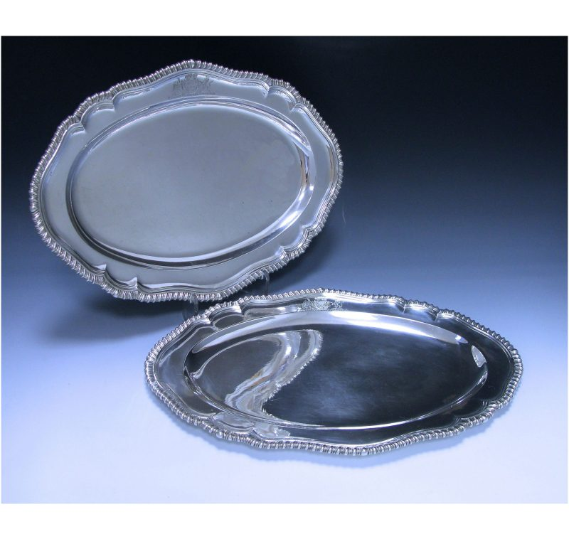 Pair of Georgian Antique Silver Meat Dishes made in 1752-61