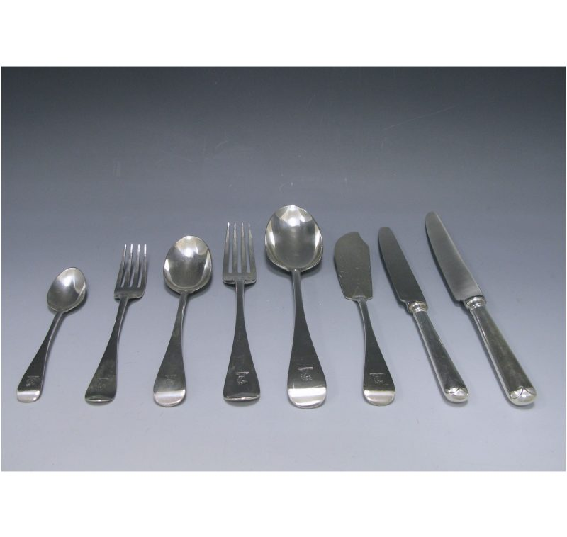 Antique Silver Old English? pattern Flatware Service
