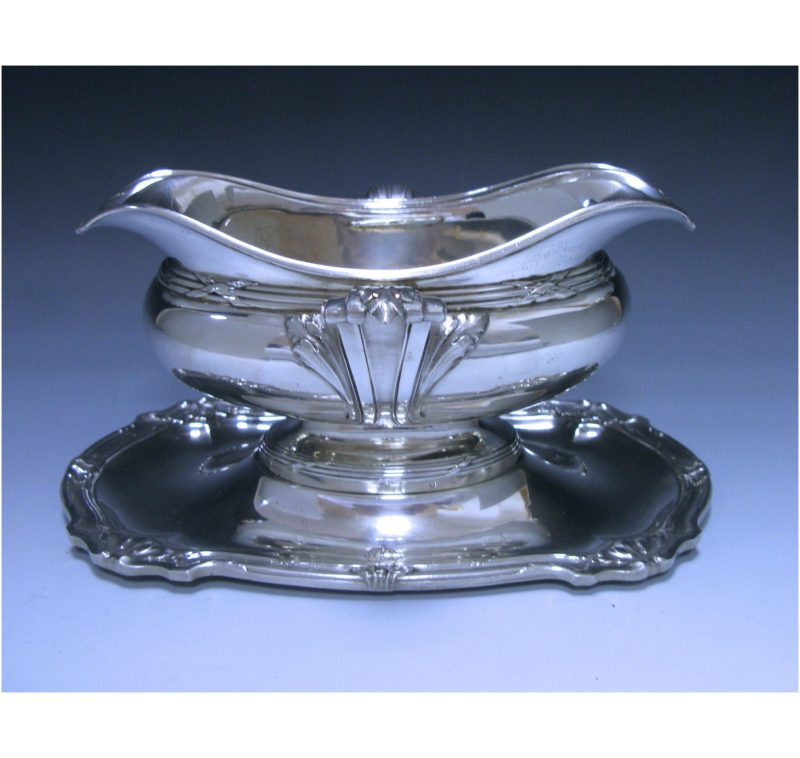 Double- Lipped Antique French Silver Sauce Boat on stand