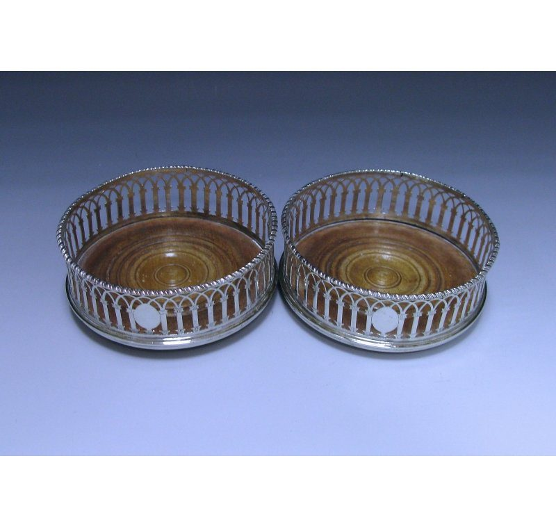 Pair of George III Antique Sterling Silver Coasters