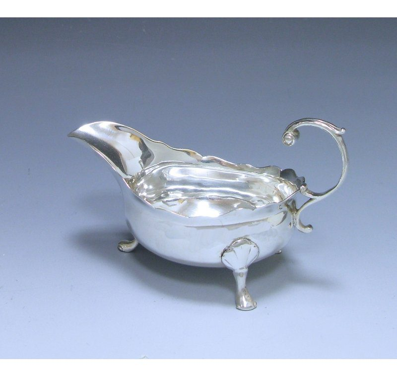 Single George II Antique Sterling Silver Sauce Boat