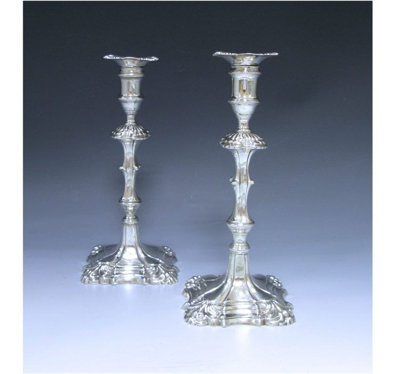 Pair of Antique Silver George II Cast Candlesticks