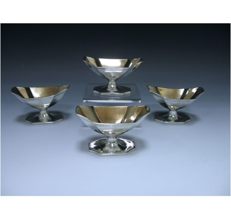 Four Antique George III Sterling Silver Salts