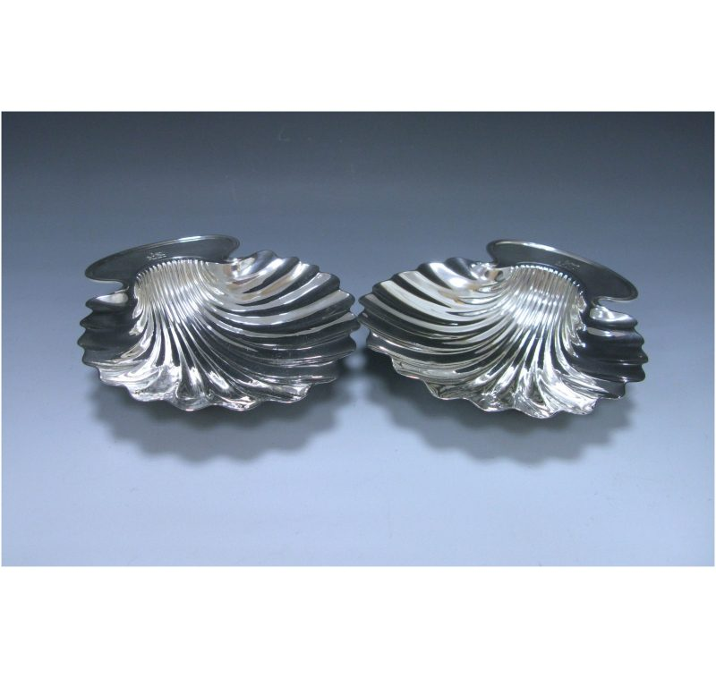 Pair of Antique George III Sterling Silver Butter Shells