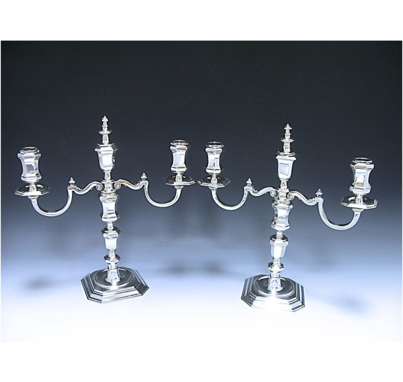 Pair of Antique Silver Cast Candelabra made for Tiffany of New York in 1917