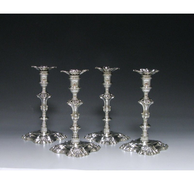 Set of Four George II Cast Silver Candlestick
